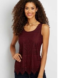 Maurices Lace Detail Tank Top Medium